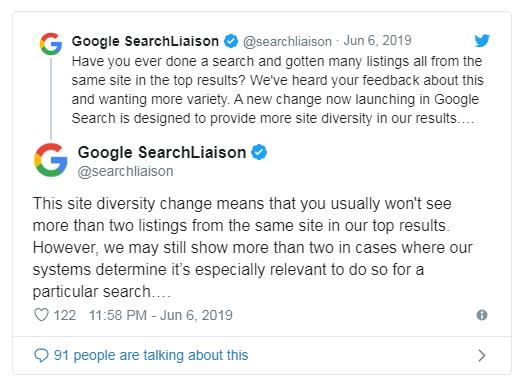 google diversifica rezultatele cautarii